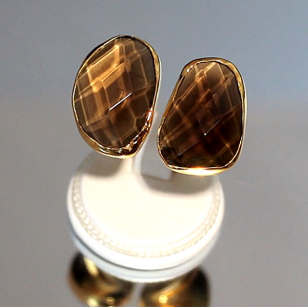Δαχτυλίδι με Χαλαζία Καπνία & Κίτρινο Χρυσό 14Κ