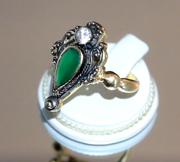 Δαχτυλίδι με Πράσινο Αχάτη και Χρυσό 14Κ