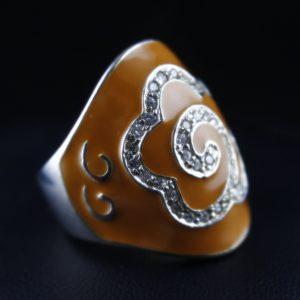 Δαχτυλίδι σε ασήμι 925 επιπλατινωμένο μεΣμάλτο και CZ Zircon.