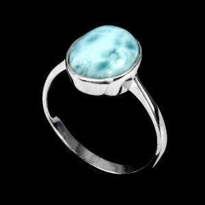 Δαχτυλίδι σε ασήμι 925 με λευκό επιχρύσωμα 14k και με 100% φυσικό Larimar.