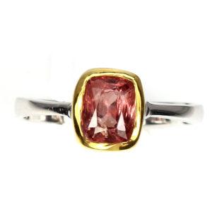 Δαχτυλίδι σε ασήμι 925 με λευκό & κίτρινο επιχρύσωμα 14k, διακοσμημένο με 100% φυσικό κόκκινο Spinel.