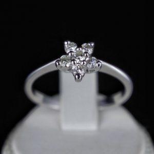 Δαχτυλίδι από Λευκό Χρυσό 14k με 100% φυσικά Μπριγιάν.