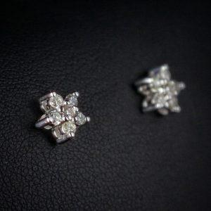 Σκουλαρίκια από Λευκό Χρυσό 14k με 100% φυσικά Μπριγιάν.