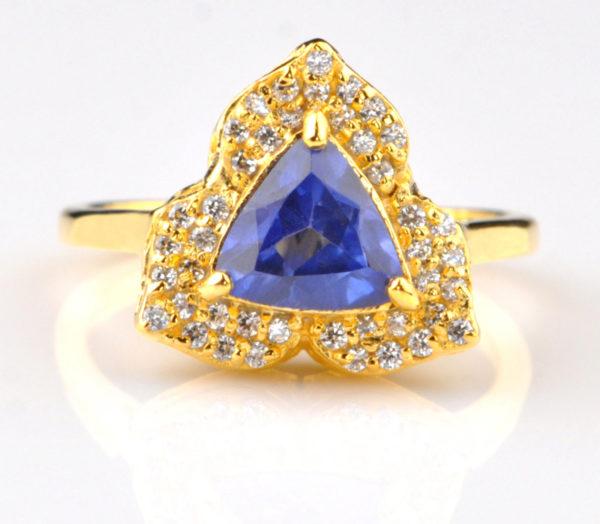 Δαχτυλίδι από χρυσό 14k με φυσικό ορυκτό Μπλε Τανζανίτη & Μπριγιάν!