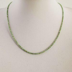 Χειροποίητο κολιέ με πράσινα διαμάντια σε κοπή Rondelle από την Αυστραλία (ΚΩΔ 8489A)