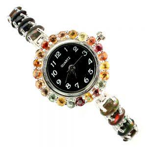 Ρολόι σε ασήμι 925 με λευκό πλατίνωμα στα 14Κ με μαύρους Οπάλιους, Σμαράγδια και έγχρωμα Ζαφείρια (ΚΩΔ 81649)
