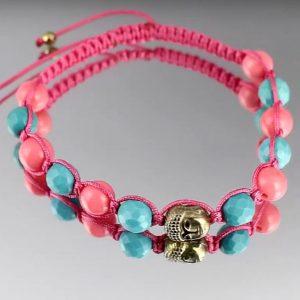 Χειροποίητο σαμπάλα με Τυρκουάζ Περσίας, ροζ Κοράλλια Μεσογείου και επιχρυσωμένους Αιματίτες (ΚΩΔ 9312Α)