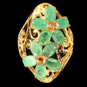 Δαχτυλίδι σε ασήμι 925 με κίτρινο επιχρύσωμα στα 14Κ με Σμαράγδια και Ζαφείρια από την Βραζιλία (ΚΩΔ 6099Α)
