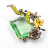 Καρφίτσα/Μενταγιόν σε ασήμι 925 με μαύρο και κίτρινο επιχρύσωμα στα 14Κ με πράσινο Φθορίτη σε οκτάγωνη κοπή, Χρωμοδιοψίδιο και Ροδολίτες Γρανάτες από την Αφρική (ΚΩΔ 6158Α)