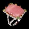 Δαχτυλίδι σε ασήμι 925 με λευκό και κίτρινο χρύσωμα στα 14Κ και μεγάλο ροζ Οπάλιο στα 8.56 ct, Ρουμπίνια και Σμαράγδια από την Αφρική (ΚΩΔ 9736Α)