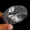 Βραχιόλι (Bangle) σε ασήμι 925 με λευκό πλατίνωμα στα 14Κ μαύρους Οπάλιους στα 156.00 ct από την Αιθιοπία (ΚΩΔ 6629Α)