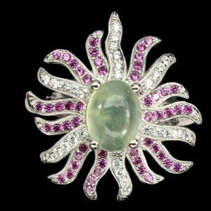 Δαχτυλίδι σε ασήμι 925 με λευκό πλατίνωμα στα 14Κ με Πρενίτη στα 1.80 ct και Ζαφείρια τα κόκκινα 0.75 ct και τα λευκά 0.49 ct από την Βραζιλία (ΚΩΔ 6274Α)