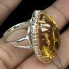 Δαχτυλίδι σε ασήμι 925 με ροζ επιχρύσωμα στα 14Κ με Κιτρίνη Χαλαζία και Ζαφείρια στα 34.62 ct από την Βραζιλία (ΚΩΔ 6082Α)