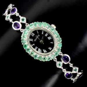 Ρολόι σε ασήμι 925 με λευκό πλατίνωμα στα 14Κ με μηχανισμό Quartz φιλοτεχνημένο με Σμαράγδια και Αμέθυστο στα 17.60 ct από την Βραζιλία (ΚΩΔ 6734Α)