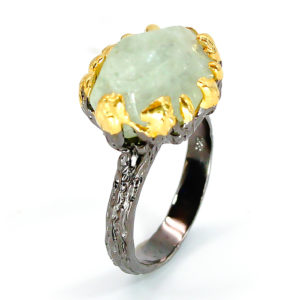 Δαχτυλίδι σε ασήμι 925 με μαύρο και κίτρινο επιχρύσωμα στα 14Κ με Ακουαμαρίνα σε κοπή fancy στα 43.72 ct από την Βραζιλία (ΚΩΔ 9978Α)