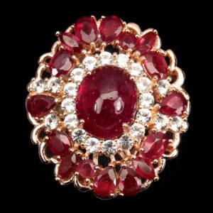 Δαχτυλίδι σε ασήμι 925 με ροζ επιχρύσωμα στα 14Κ με δέκα επτά Ρουμπίνια στα 5.81 ct από την Μαδαγασκάρη, το κόσμημα συμπληρώνουν λευκά CZ Zircon (ΚΩΔ 5942Α)