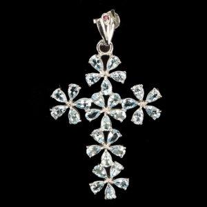 Σταυρός σε ασήμι 925 με λευκό επιχρύσωμα στα 14Κ με τριάντα Ακουαμαρίνες σε κοπή Pear στα 24.00 ct από την Βραζιλία (ΚΩΔ 5915Α)