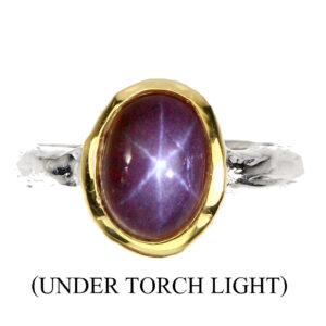 Χειροποίητο δαχτυλίδι σε ασήμι 925 με λευκό και κίτρινο επιχρύσωμα στα 14Κ με ένα οβάλ καμπουσόν Star Ρουμπίνι στα 3.40 ct από την Μαδαγασκάρη (ΚΩΔ 6301Β)