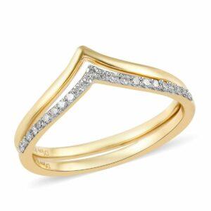 Δαχτυλίδι διπλό σε ασήμι 925 κίτρινο επιχρύσωμα στα 14Κ με λευκά Διαμάντια στα 0.20 ct από την Αυστραλία (ΚΩΔ 6205Β)